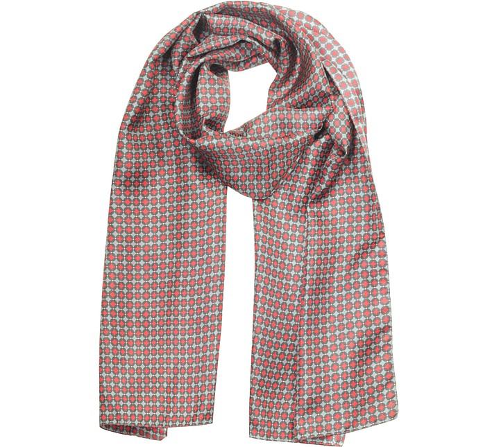 Red/Gray Optical print Twill Silk Men's Scarf - Laura Biagiotti