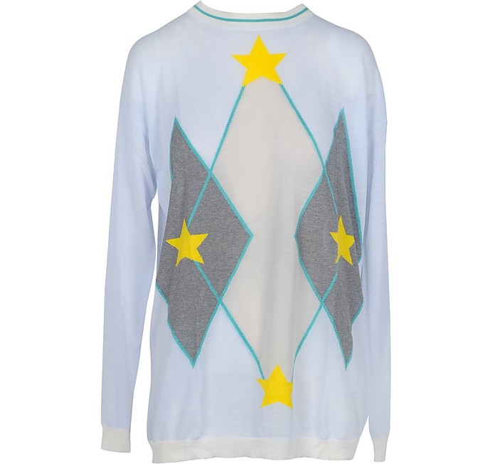 Light Blue Cotton Women's Long Sweater w/Stars - Ballantyne