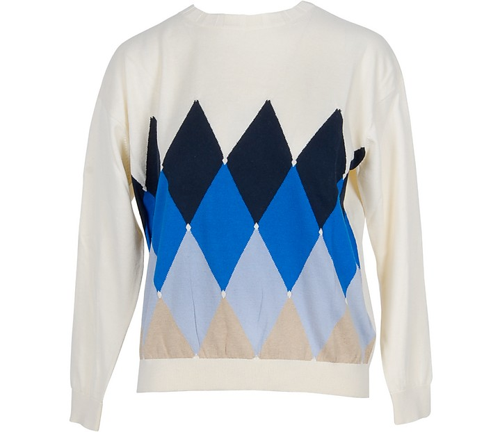 White Diamond Woven Cotton Women's Sweater - Ballantyne