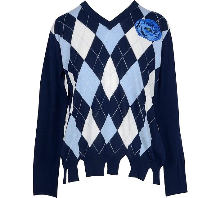 Blue Diamond Woven Cotton Row Cut Hem Women's Sweater - Ballantyne