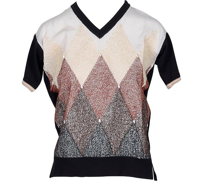 V-Neck Diamond Woven Cotton Women's Sweater - Ballantyne
