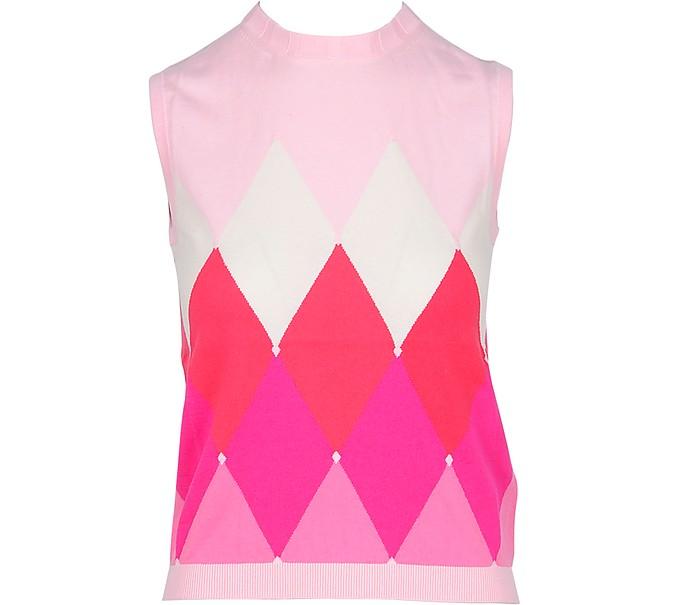 Pink Diamond Woven Cotton Women's Sleeveless Sweater - Ballantyne