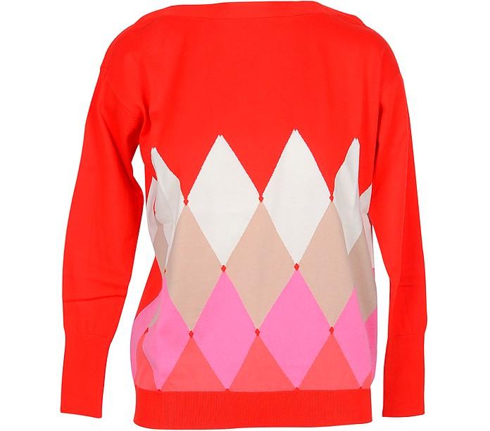 Red Diamond Woven Cotton Women's Sweater - Ballantyne