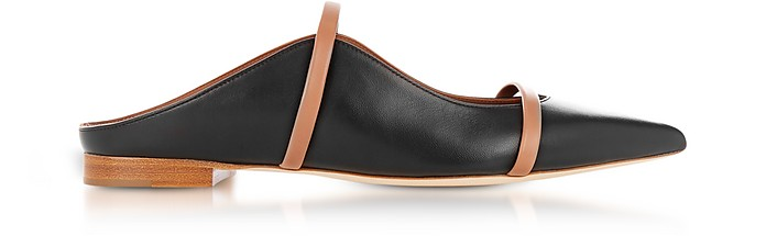 Maureen Black and Nude Nappa Leather Flat Mules - Malone Souliers