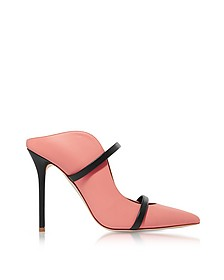 Maureen Rose and Midnight Blue Nappa Leather High Heel Mules - Malone Souliers