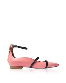 Robyn Rose and Midnight Blue Nappa Leather Flat Ballerinas - Malone Souliers
