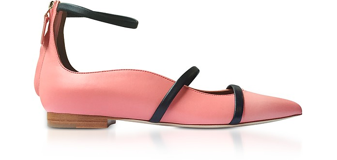 Robyn Rose and Midnight Blue Nappa Leather Flat Ballerinas - Malone Souliers by Roy Luwolt