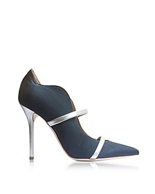 Maureen Navy Blue Moire Fabric and Silver Metallic Nappa Leather High Heel Pumps - Malone Souliers