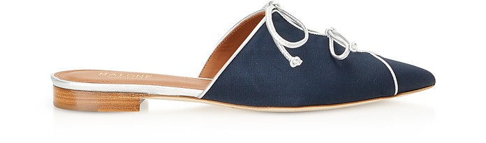 Vilvin Navy Blue Moire Fabric and Silver Metallic Nappa Leather Flat Mules - Malone Souliers