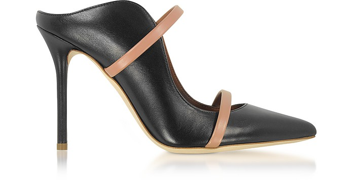 Maureen Black and Nude Nappa Leather High Heel Mules