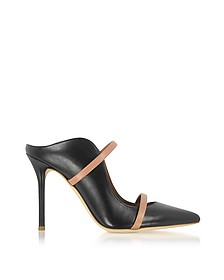 Maureen Black and Nude Nappa Leather High Heel Mules - Malone Souliers