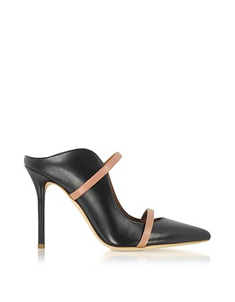 aa54ce524b3b Maureen Black and Nude Nappa Leather High Heel Mules - Malone Souliers