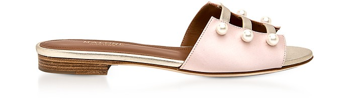 Zelda Rose Silk Satin and Platinum Metallic Nappa Leather Flat Sandals w/Pearls - Malone Souliers