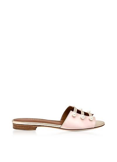 Zelda Rose Silk Satin and Platinum Metallic Nappa Leather Flat Sandals w/Pearls - Malone Souliers
