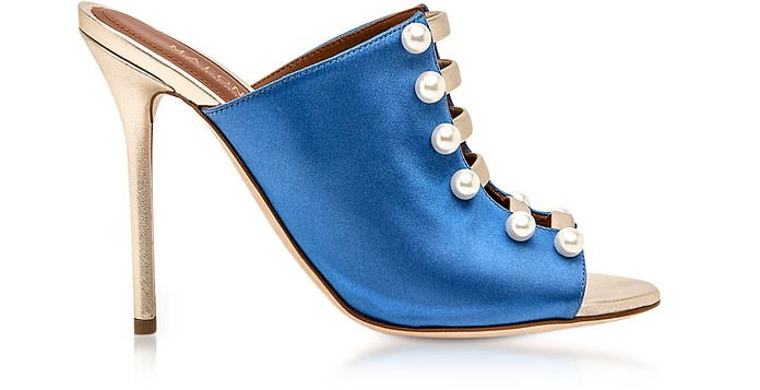 Zada Blue and Platinum Satin High Heel Mules - Malone Souliers / マローン スリアーズ
