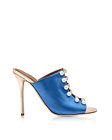 Zada Blue and Platinum Satin High Heel Mules - Malone Souliers