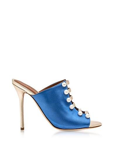 Zada 蓝色和铂金缎面高跟骡子鞋 - Malone Souliers