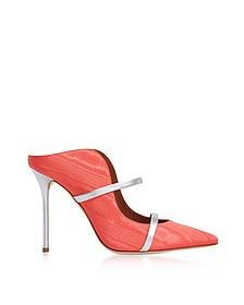 Maureen Ibiscus/Silver Moire and Nappa High Heel Mules - Malone Souliers