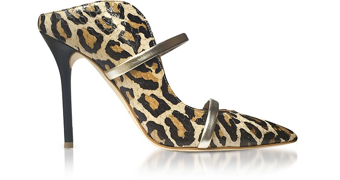 Beige Leopard Printed Elaphe and Platinum Nappa Leather Maureen High Heel Mules - Malone Souliers