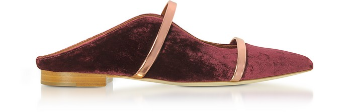 Plum Velvet and Rose Gold Nappa Leather Maureen Flat Slides - Malone Souliers