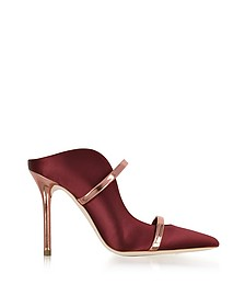 Maureen Red Wine Satin and Rose Gold Mirror Nappa Leather High Heel Mule - Malone Souliers