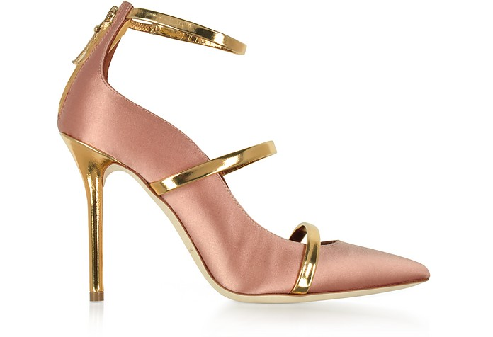 Robyn Blush Satin and Golden Mirror Nappa Leather Pumps - Malone Souliers by Roy Luwolt