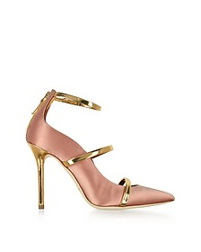 Robyn Blush Satin and Golden Mirror Nappa Leather Pumps - Malone Souliers