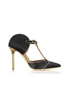 Imogen Black Satin and Gold Mirror Nappa Leather Pumps - Malone Souliers