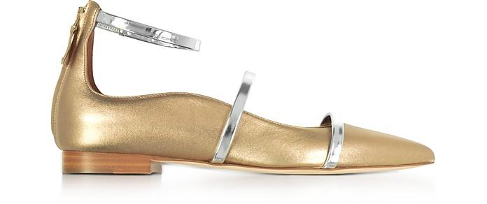 Robyn Flat Metallic Nappa Leather Ballerinas - Malone Souliers