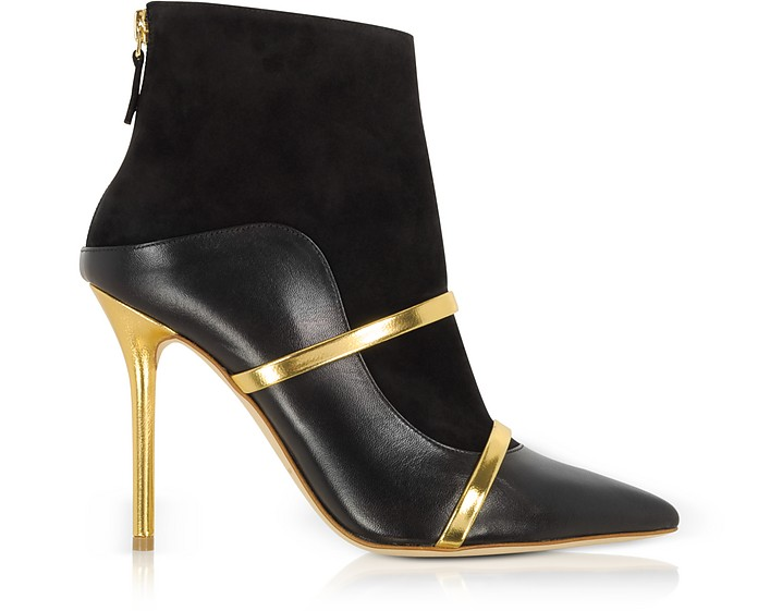 Black and Gold Nappa Leather and Suede High Heel Boots - Malone Souliers