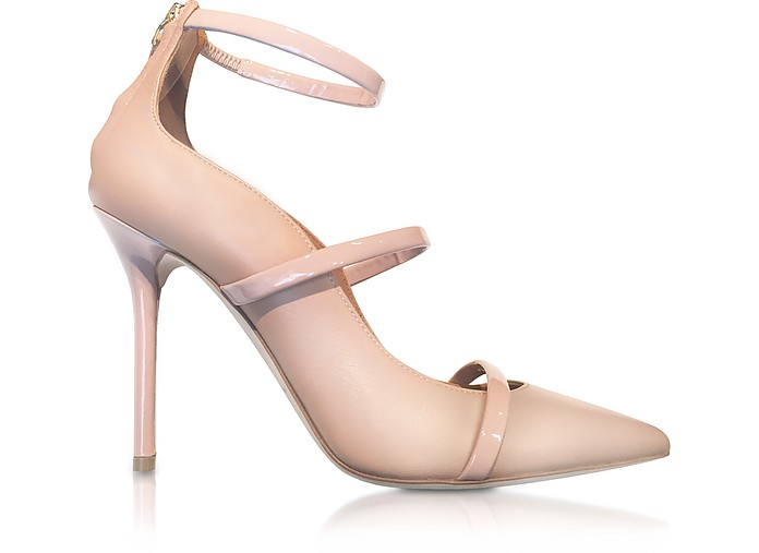 MALONE SOULIERS Designer Shoes, Robyn Nude and BLush Nappa Leather Pumps