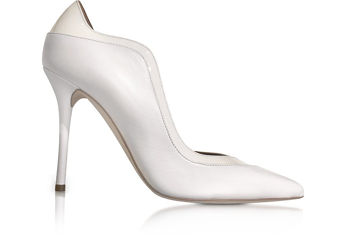 By Roy Luwolt Penelope Optic White Nappa Leather Pumps, Ivory/Silver