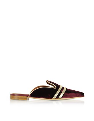 MALONE SOULIERS Designer Shoes, Hermione Burgundy Velvet and Platinum Nappa Flat Mules