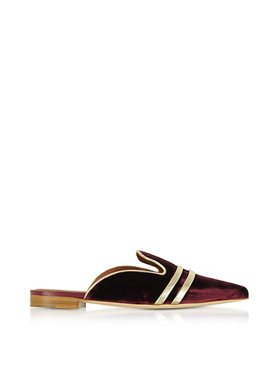 Hermione Burgundy Velvet and Platinum Nappa Flat Mules - Malone Souliers