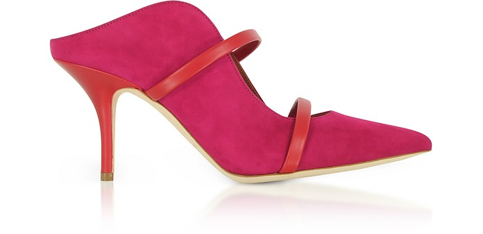 MALONE SOULIERS Designer Shoes, Maureen Suede and Cherry Nappa High Heel Mules