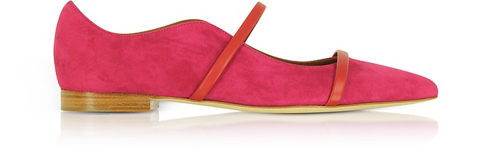 Maureen Red Suede and Cherry Nappa Flat Pumps - Malone Souliers / マローン スリアーズ