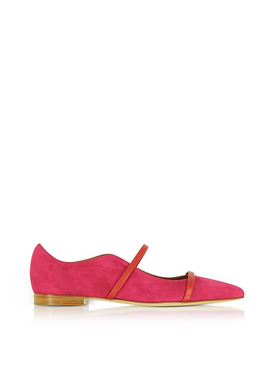 Maureen Red Suede and Cherry Nappa Flat Pumps - Malone Souliers