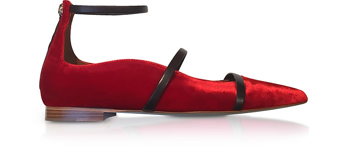 Robyn Flat Red Velvet and Burgundy Nappa Ballerinas - Malone Souliers