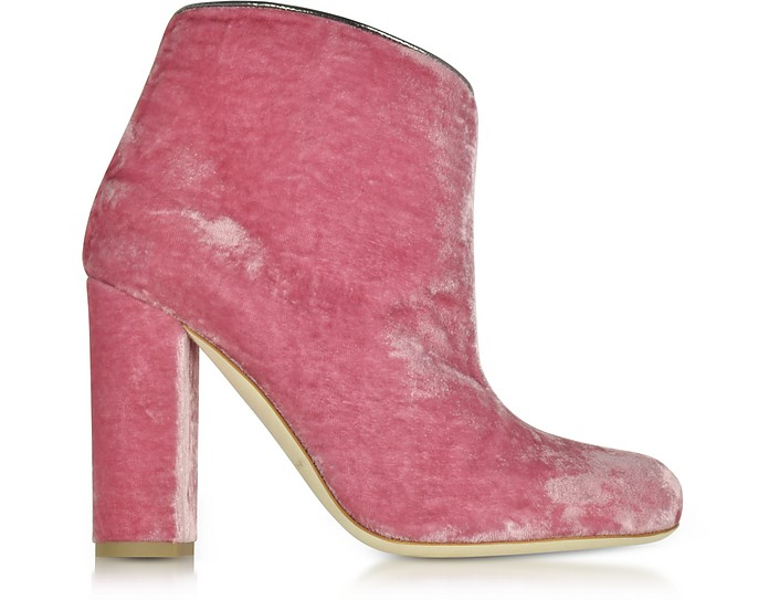 Eula Pink and Charcoal Velvet Ankle Boots - Malone Souliers