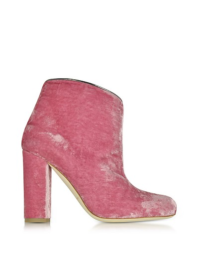 Eula粉红和木炭色天鹅绒踝靴 - Malone Souliers