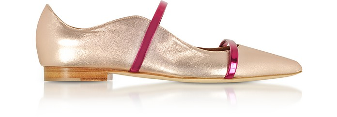 Maureen Metallic Rose and Berry Nappa Flat Pumps - Malone Souliers
