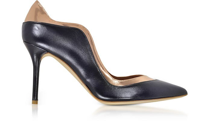 Penelope Midnight Blue and Metallic Rose Nappa Leather Pumps - Malone Souliers / マローン スリアーズ