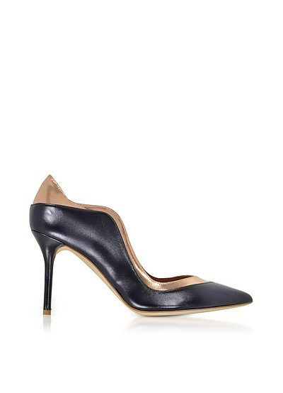 Penelope Midnight Blue and Metallic Rose Nappa Leather Pumps - Malone Souliers