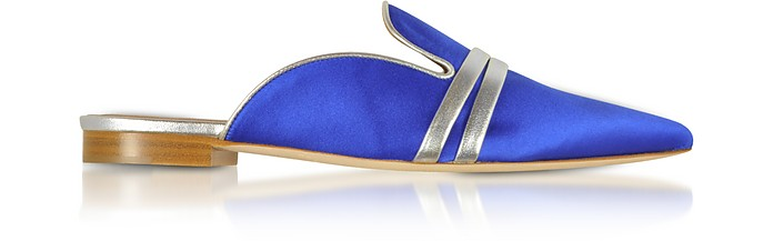 Hermione Blue Satin and Metallic Nappa Mules  - Malone Souliers / マローン スリアーズ