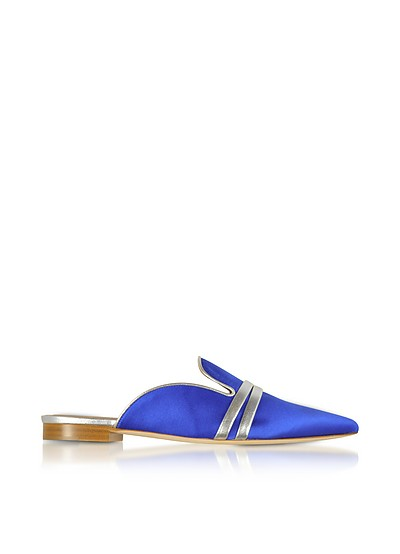 Hermione Blue Satin and Metallic Nappa Mules  - Malone Souliers