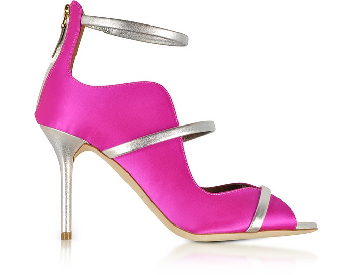 Mika 85 Fuchsia Satin and Metallic Leather High Heel Sandals - Malone Souliers