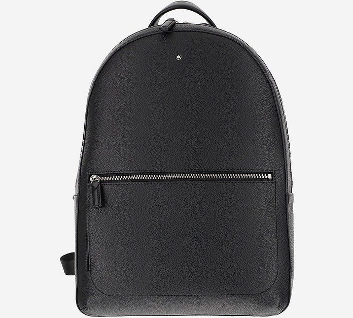 Black Soft Grainy Leather Slim Backpack - Montblanc