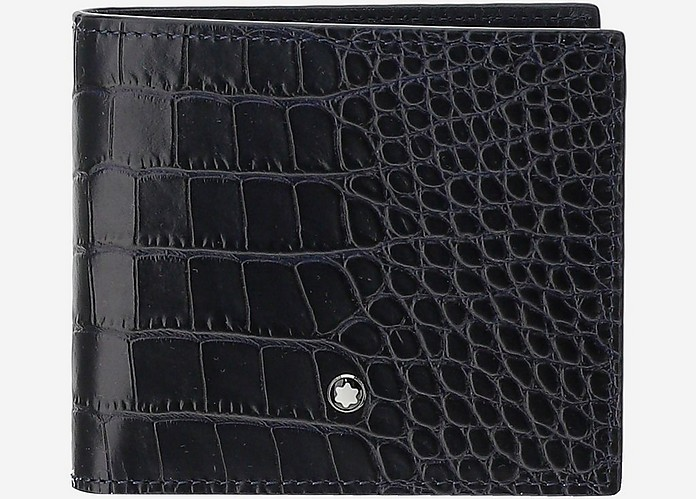 Navy Blue Croco Embossed Leather Billfold Men's Wallet - Montblanc