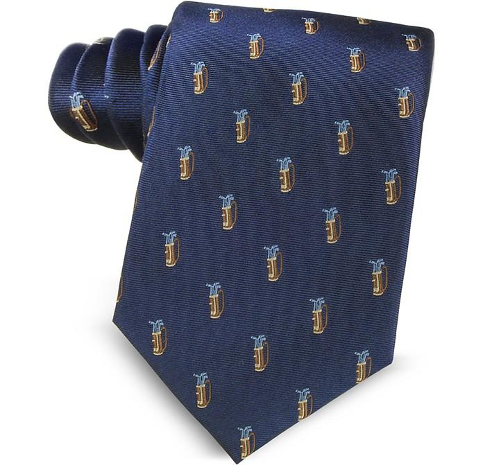 Golf Bag Light Blue Woven Silk Men's Tie - Marina D'Este