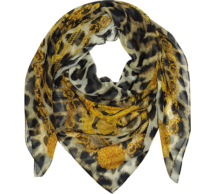 Gold and Leopard Print Pure Silk Wrap - Marina D'Este